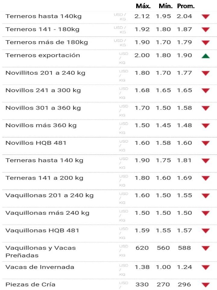 imagen de planilla de precios de la reposición
