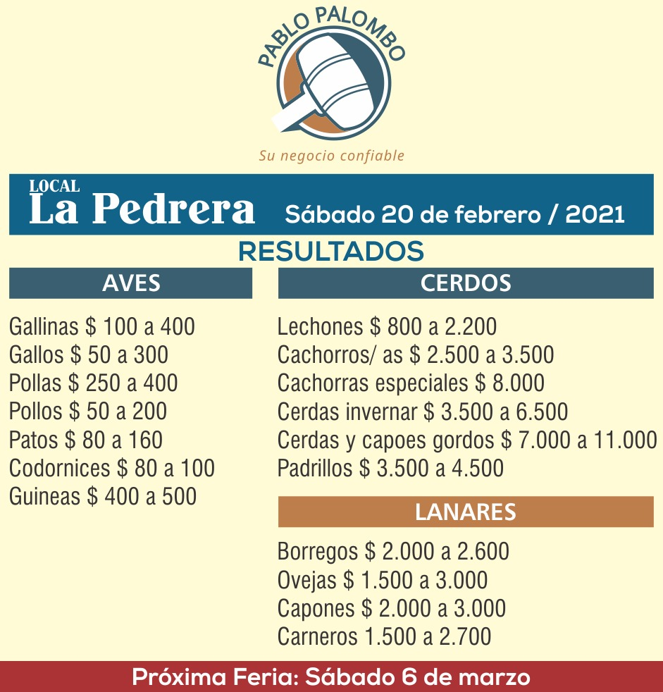 imagen de la tabla de precios del remate en la pedrera