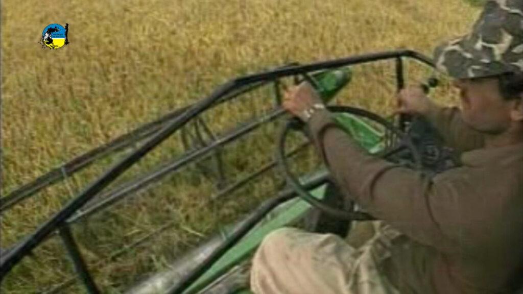 imagen de maquina manejada por un hombre cosechando arroz