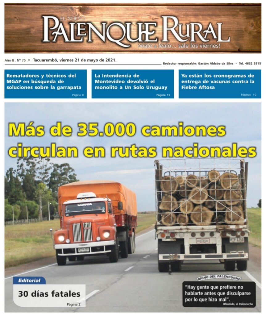 IMAGEN DE LA TAPA DEL PALENQUE RURAL : MÁS DE 35.000 CAMIONES CIRCULAN EN RUTAS NACIONALES